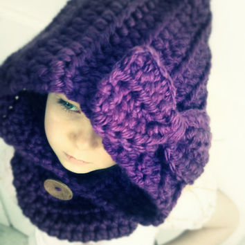 infant, toddler, child, youth, adult chunky crochet BOW hooded COWL by LuLu Belle Designs