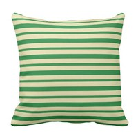 Thick and Thin Dark Green and Beige Stripes Throw Pillow