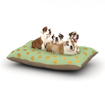 "Nika Martinez ""Golden Dots and Mint"" Green Gold Dog Bed"