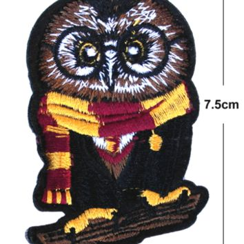 Owl Iron/Sew On Embroidered Patch Badge hogwarts Embroidery harry potter wizadry | eBay
