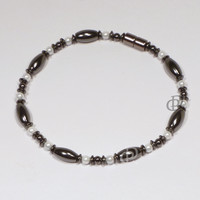 Magnetic Anklet Triple Power Black Hematite Rice Beads 5,000 Gauss Clasp