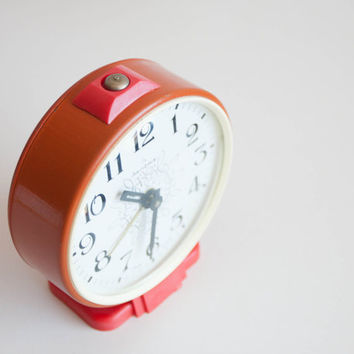 Jantar Soviet Desk Clock, Russian Alarm Clock, Soviet Union Home Decor, Office Decor Clock, Orange Red Fall Autumn