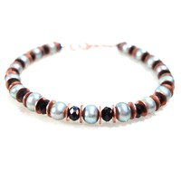 B127: Silver Gray Pearl Bracelet with Black Crystals