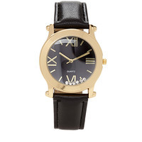 FOREVER 21 Rhinestone Faux Leather Watch Black/Gold One