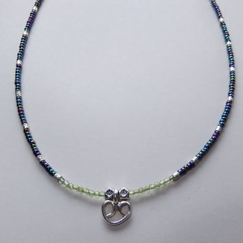 Karen Hill Tribe Silver, Peridot and Seed Bead Necklace