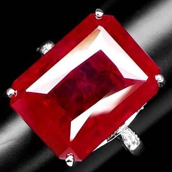 A Natural 14K White Gold 22.2CT Emerald Cut Blood Red Ruby White Sapphire Ring