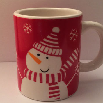 Vintage Sur La Table Espresso or Cocoa Mug with Snowman Winter Theme Red and White Great for Kids Carrot Nose Scarf Snowflakes Holiday