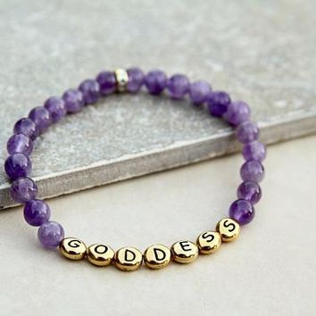 Goddess Gemstone Bracelete in Purple Amethyst with Gold Letters