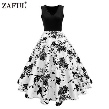 ZAFUL Women Vintage Dress Retro 50s Rockabilly Floral Print High Waist Summer Party Dress Elegant Female Dress vestido de fiesta