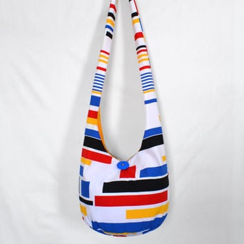 Hobo Bag, Crossbody Bag, Hippie Purse, Sling Bag, Hobo Purse, Boho Bag, Bohemian Purse, Geometric, Primary Colors, Fabric Purse, Handmade