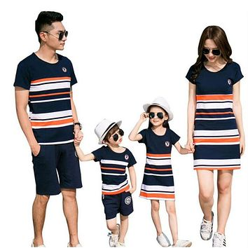 Family Matching Outfits Striped T-shirt 516