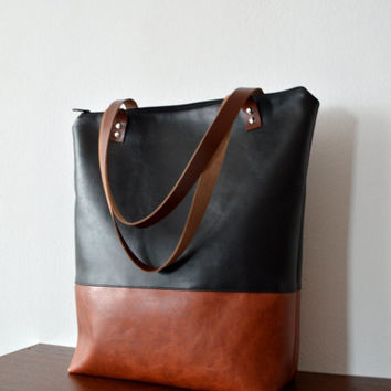Black and terracotta tote bag, Large tote bag with genuine leather straps
