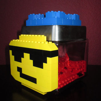LEGO Themed Apothecary Candy/Keepsake Jar ~ Glass Jar with LEGO sunglasses dude and LEGOs on lid. Build with your own LEGOs on the lid!