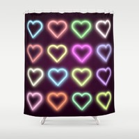 Neon Love Shower Curtain by Dood_L