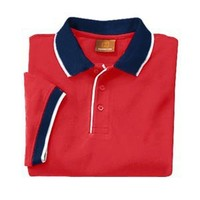 Harriton Cotton Pique Mens Colorblock Polo