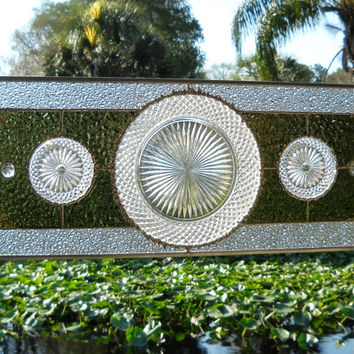 Depression Glass Stained Glass Window Panel with 1930s Miss America Plate