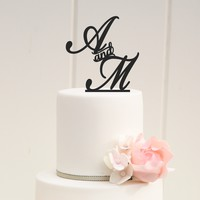 Two Initial Monogram Wedding Cake Topper