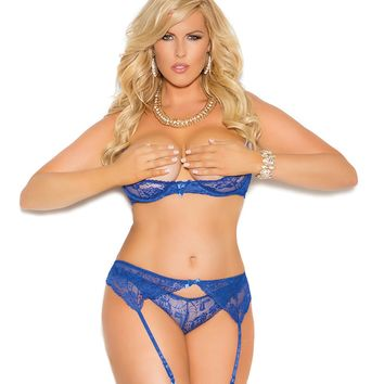 Plus Size Sensuous Lace and Mesh Bra and Garter
