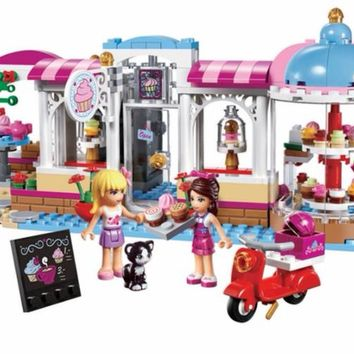 439Pcs 10496 Friends Heartlake Cupcake Cafe Building Blocks Set Model Bricks Girl Toy 41119 Compatiable with Legoes Friends