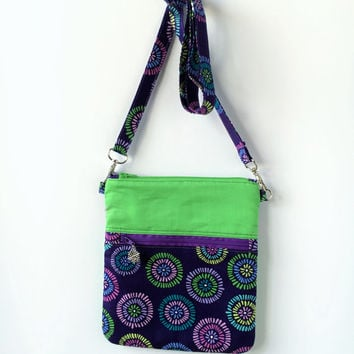 Crossbody handbag, Cross body bag, Womens purse, Sling bag, Crossbody Bag, Purple floral bag