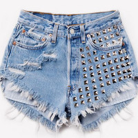 Left side studded shorts by TakeItHigh on Etsy