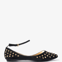 Spiked Ankle Strap Flats