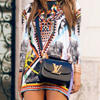 MultiColor Retro Printed Long Sleeve Mini Dress