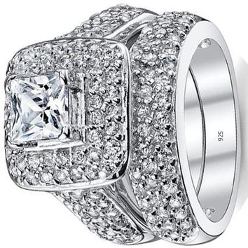 1.50 Carats .925 Sterling Silver Princess Cut Cubic Zirconia Wedding Ring Set