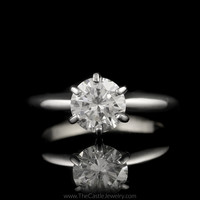 Round Brilliant Cut .95ct SI1-H Diamond Engagement Ring in 14K White Gold