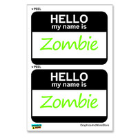 Zombie Hello My Name Is - Sheet of 2 Stickers