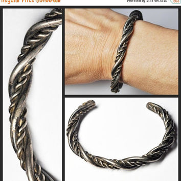 ON SALE Vintage NATIVE American Sterling Silver Twisted Cuff, Bracelet, Mens, Unisex, Hand Wrought, Chunky, Heavy, Excellent!  #B147