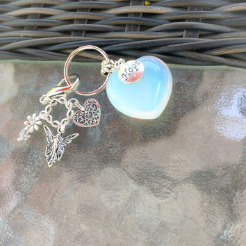 Beautiful Large Opal Heart with Pretty Fairy, Daisy, Heart and Hope Charm Keychain/ Keyring  with FREE Affirmation Card, Bag TEMPT TEAM