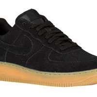 NEW MENS NIKE AIR FORCE 1 LOW BASKETBALL SHOES TRAINERS BLACK / BLACK / GUM