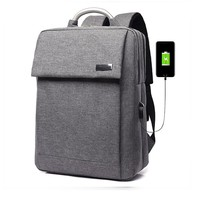 Solid Pattern USB Charge Anti Theft Backpack