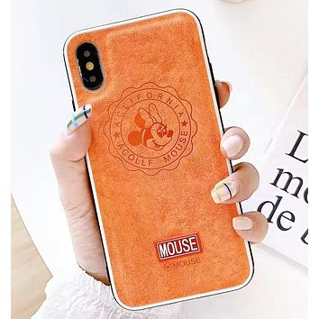 Mickey Mouse Fashion New Letter Mouse Leather Phone Case Protective Case Cover Orange