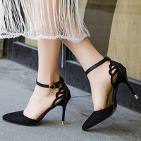 Summer Style Women Shoes Ankle Strap Pumps butterfly Cut-Outs Woman Dress Shoes