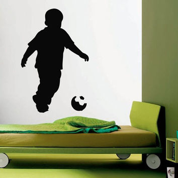 Wall Decals Vinyl Decal Sticker Art Murals Decor Little Boy Soccer Player Kj528