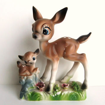 Bambi Deer Figurines, Vintage Fawn Deer Statue, Woodland Decor, Ceramic Deer
