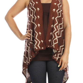 Red Long Knitted Vest