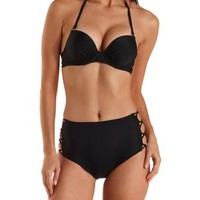 Black Ruched & Caged Push-Up Bikini Top by Charlotte Russe