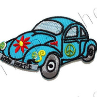 New Beetle Blue Turquoise Color - Sweet Car New Sew / Iron On Patch Embroidered Applique Size 9cm.x5.5cm.