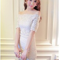 HEGO Collar Strapless Lace Dress  YE026B