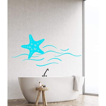 Vinyl Wall Decal Starfish Sea Ocean Beach Style Wave Stickers Unique Gift (1325ig)
