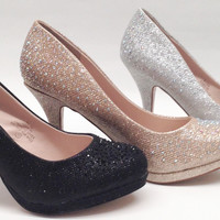 Blossom Robin46 Womens Prom Wedding Pageant Rhinestone Round Toe Platform Pump Shoes Heels