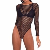 2017 Summer Sexy mesh women jumpsuit Mesh Bodycon Bodysuit Women Romper transparent party overalls long sleeve playsuits