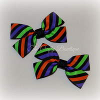 Halloween Hair Bow ~ Halloween Clippies ~ Small Halloween Bow ~ Small Striped Bow ~ Halloween Pigtails ~ Orange & Purple Bow ~ Striped Bows