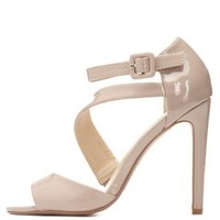 Curved Strappy Peep Toe Heels by Charlotte Russe