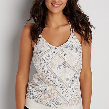 tank with patchwork patterned chiffon front | maurices