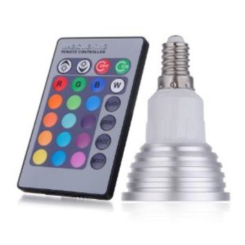 E14 3W LED 16 Color Changing RGB Light Lamp Bulb with Remote Control AC 90-240V
