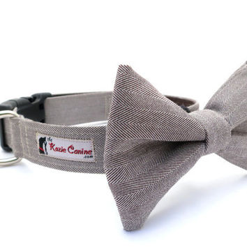 Herringbone Dog Collar Brown Suiting w/ Matching by theKozieCanine